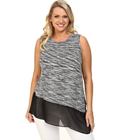 Vince Camuto Plus - Plus Size Sleeveless Space Dyed Mix Media Top w/ Asymmetrical Hem