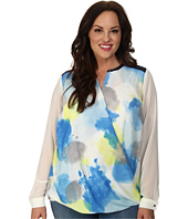 DKNYC - Plus Size Drape Front Color Block Blouse