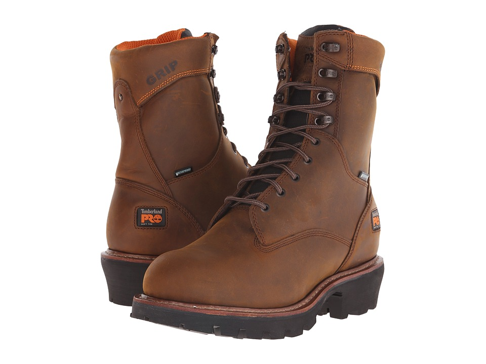 Timberland PRO 9 Rip Saw Soft Toe Waterproof Insulated Logger (Brown Distressed Leather) Men