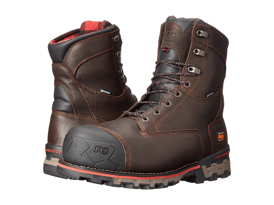 Timberland PRO 8 Boondock 1000g Composite Safety Toe Waterproof Insulated (Brown Tumbled Leather) Men