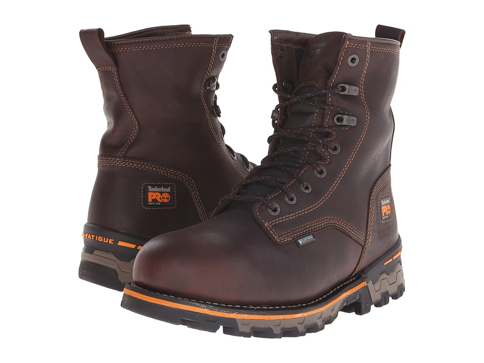 Timberland PRO 8 Boondock Plain Toe Soft Toe Waterproof Insulated (Brown Tumbled Leather) Men