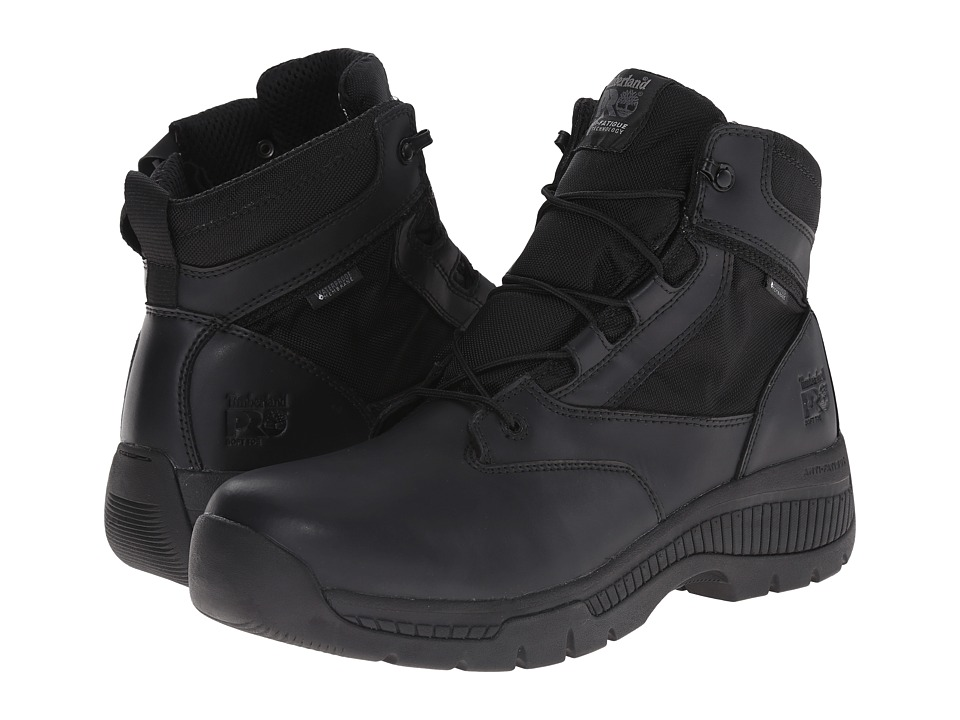 Timberland PRO - 6 Valortm Duty Soft Toe Waterproof Side-Zip (Black) Mens Work Lace-up Boots