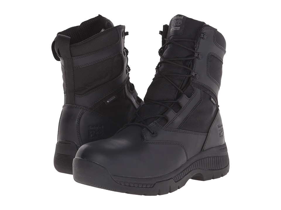 Timberland PRO - 8 Valortm Duty Soft Toe Waterproof Side-Zip (Black) Mens Work Lace-up Boots