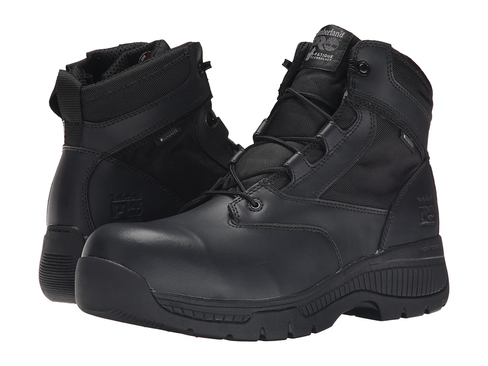 Timberland PRO 6 Valor Duty Composite Safety Toe Waterproof Side-Zip (Black) Men