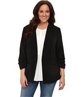 DKNYC - Plus Size Open Front Ruched Sleeve Blazer
