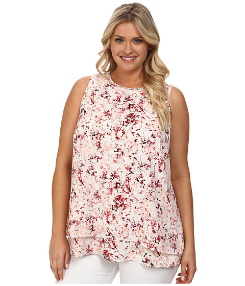 DKNYC Plus Size Embellished Double Layer Tank Top (Overcast) Women's Sleeveless