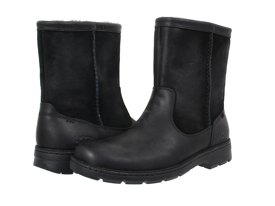 Ugg Foerster (Black Leather) Men's Pull-on Boots