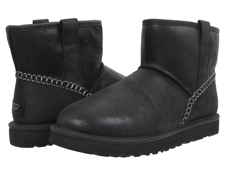 Ugg Classic Mini Stitch (Black Leather) Men's Pull-on Boots