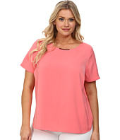 DKNYC - Plus Size Tech Crepe Hi-Low Short Sleeve Top w/ Metal Neck Trim