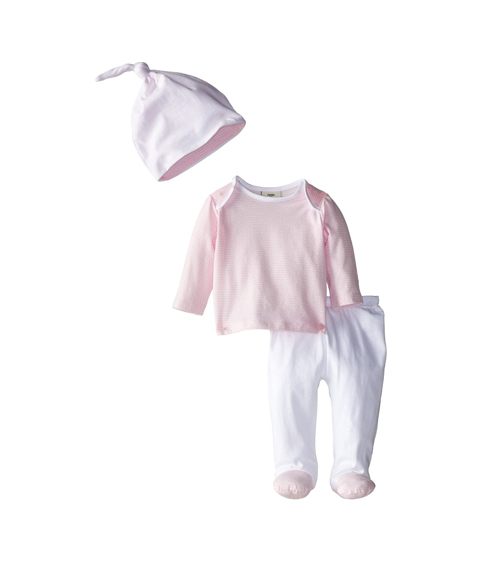 Fendi Kids Long Sleeve Top and Footed Pants Hat Gift Set Infant Pink Girls Active Sets