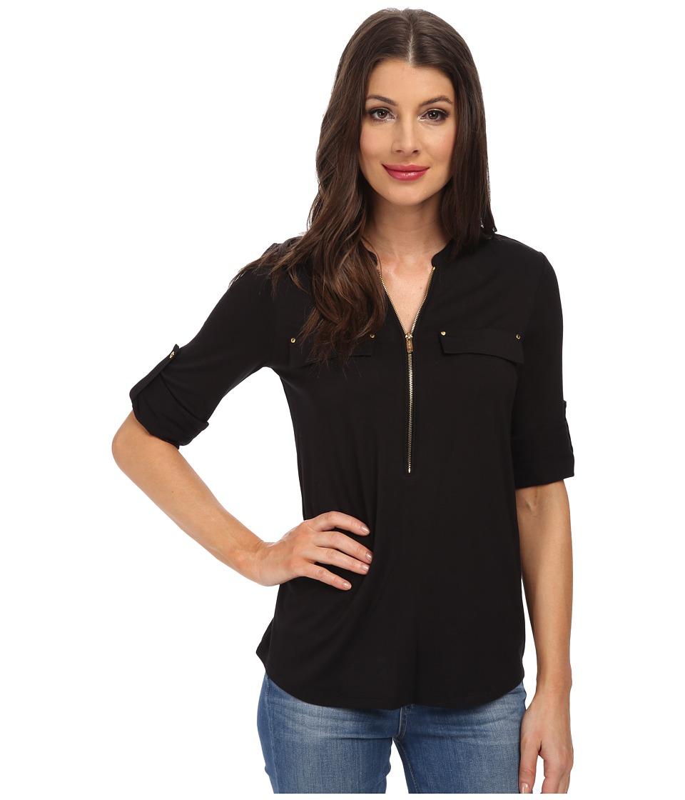 Calvin Klein - Essentials Zip Front Roll Sleeve (Black) Women's Blouse