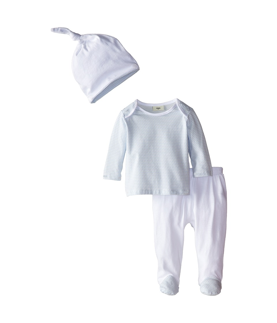 Fendi Kids Long Sleeve Top and Footed Pants Hat Gift Set Infant Light Blue Boys Jumpsuit Rompers One Piece