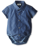 Fendi Kids - Short Sleeve Button Down One-Piece w/ Allover Logo (Infant)