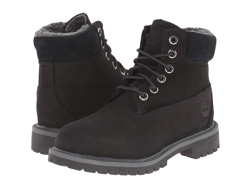Timberland Kids 6 Premium w/ Faux Shearling Little Kid Black/Grey Boys Shoes