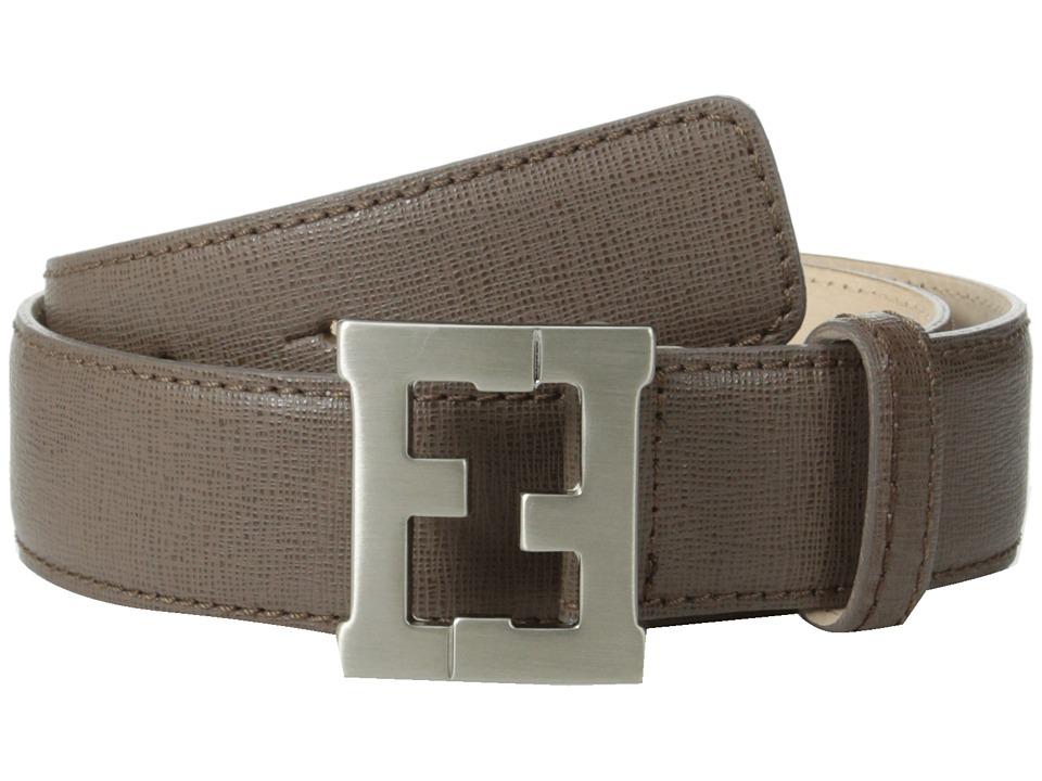 Fendi Kids Leather Belt w/ Logo Buckle Toddler/Little Kids/Big Kids Brown Boys Belts