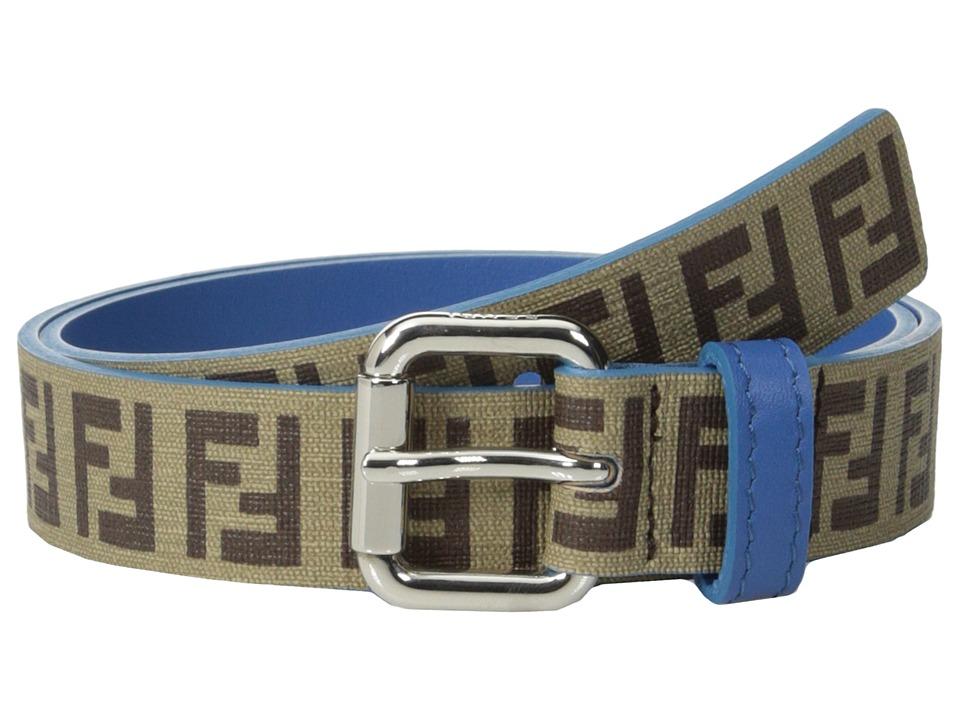Fendi Kids Leather Allaround Logo Belt w/ Contrast Inner Toddler/Little Kids/Big Kids Blue Boys Belts