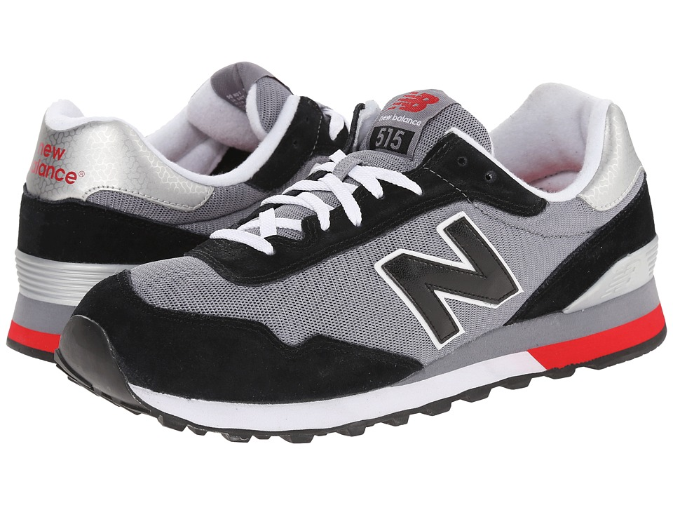 New Balance Red Suede Mesh Black