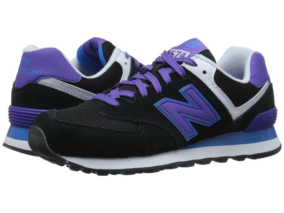 New Balance Classics - 574 - Core Plus (Black/Purple) Womens Shoes