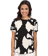 DKNYC - Printed Crepe De Chine Hi-Low Short Sleeve Top w/ Metal Neck Trim