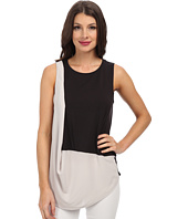 DKNYC - City Jersey w/ Lightweight Georgette Diagonal Drape Top