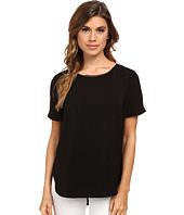 DKNYC - Tech Crepe Hi-Low Short Sleeve Top w/ Metal Neck Trim