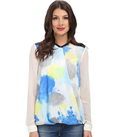 DKNYC - Drape Front Color Block Blouse w/ Crepe De Chine Back