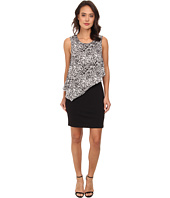 DKNYC - Lightweight Ponte Dress w/ Painted Animal Print Overlay