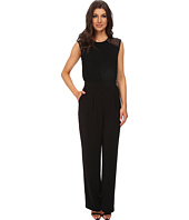 DKNYC - Tech Crepe Straight Leg Jumpsuit w/ Honeycomb Mesh