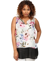 DKNY Jeans - Plus Size Misty Rose Print and Color Block Tank Top