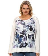 DKNY Jeans - Plus Size Floral Print Sweatshirt w/ Mesh Trim