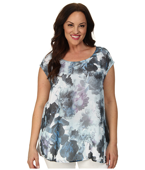 DKNY Jeans Plus Size Sea Floral Print Tee w/ Knit Crossover Back Top (Cobalt) Women's T Shirt