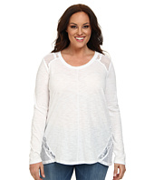 DKNY Jeans - Plus Size Eyelet and Lace Pigment Dye Top