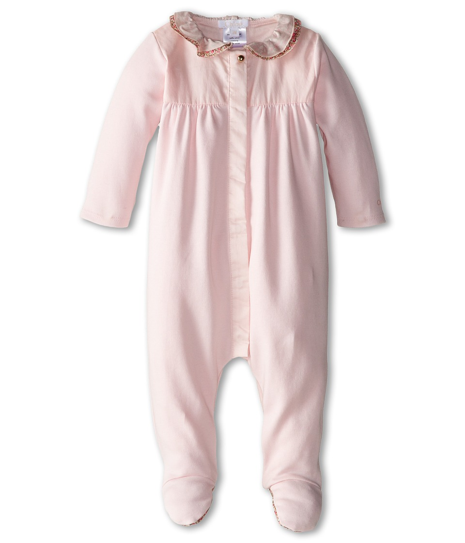 Chloe Kids Footie w/ Liberty Print Trim Infant Light Pink Girls Jumpsuit Rompers One Piece