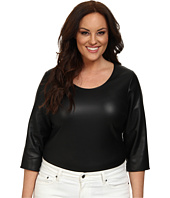 Mynt 1792 - Plus Size Faux Leather Bodysuit w/ Sleeves