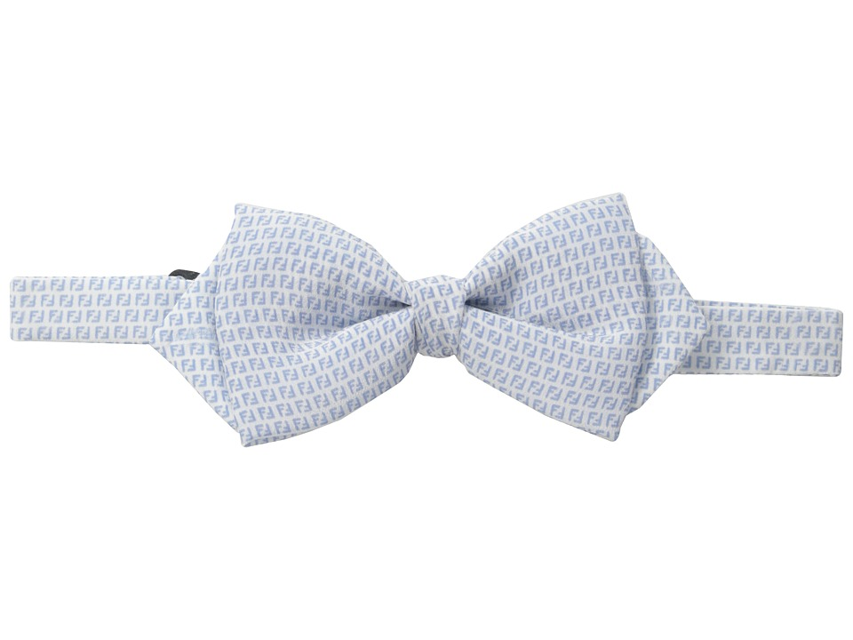Fendi Kids Logo Print Bow Tie Little Kids/Big Kids White/Sky Blue Ties
