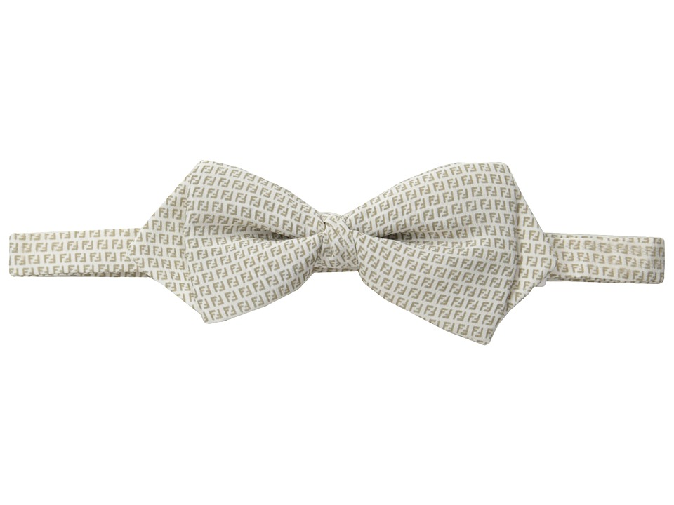 Fendi Kids Logo Print Bow Tie Little Kids/Big Kids White/Beige Ties