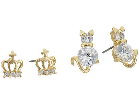 Betsey Johnson Cubic Zirconia Cat Crown Duo Stud Earrings