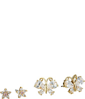 Betsey Johnson - Cubic Zirconia Butterfly Flower Duo Stud Earrings