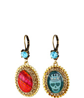 Betsey Johnson - Turquoise & Caicos Cabachon Non-Matching Drops Earrings