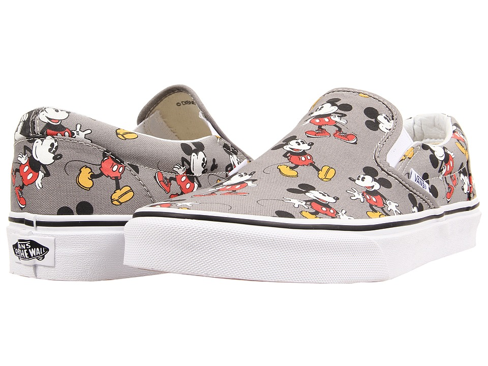Disney Classic Slip-On ((Disney) Mickey Mouse/Frost Gray) Skate Shoes
