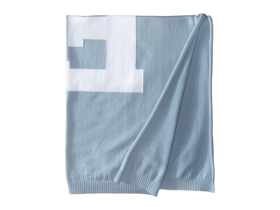 Fendi Kids Knit Blanket w/ Monogram Kids Blue Accessories Travel