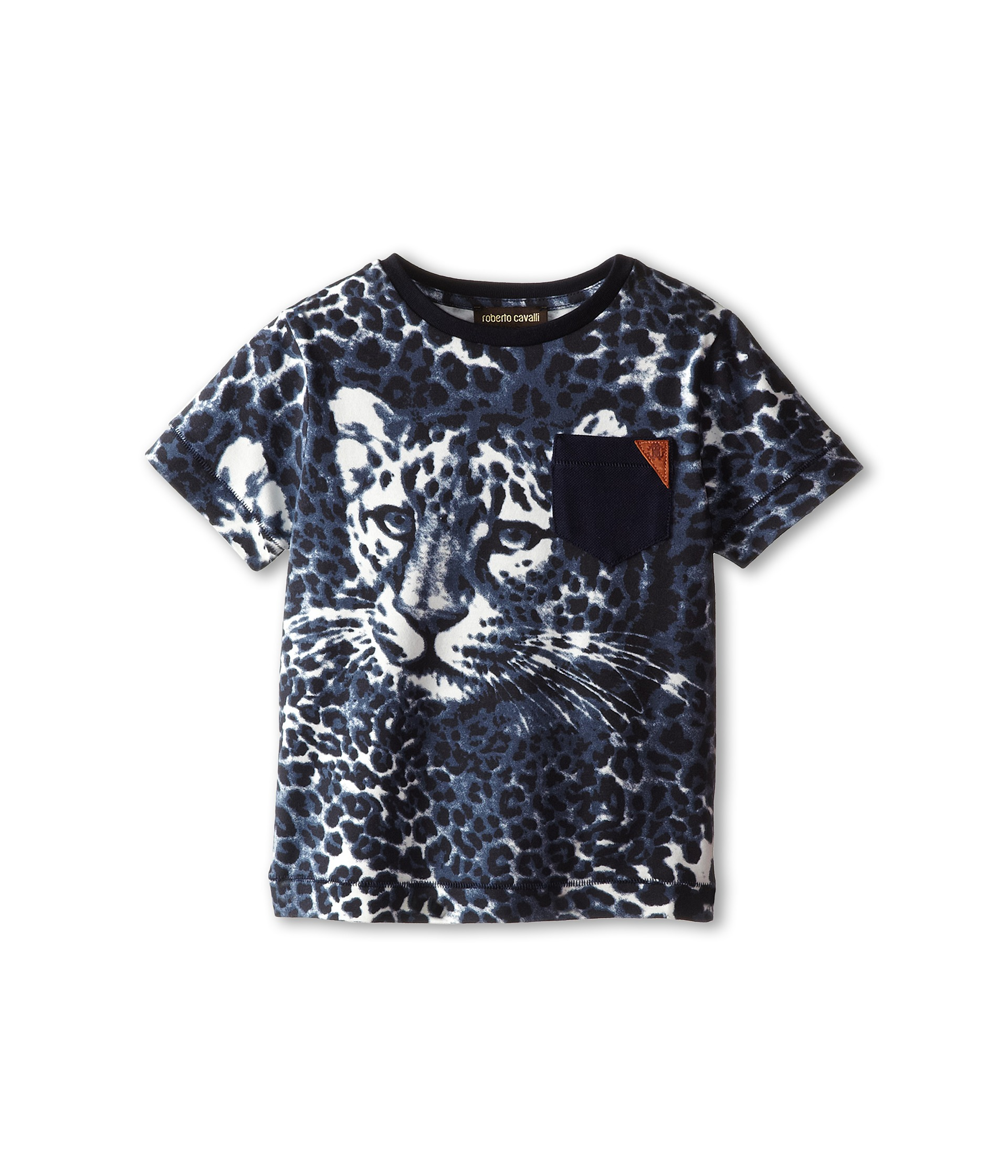 Roberto cavalli kids short sleeve allover leopard print t for Leopard print shirts for toddlers
