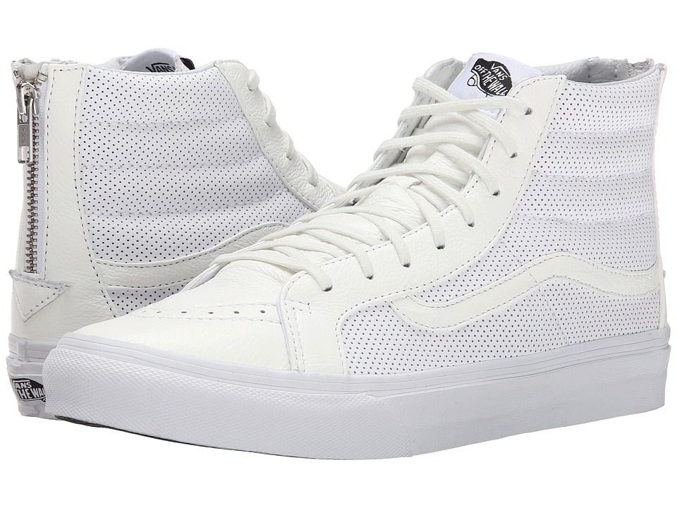 SK8-Hi Slim Zip ((Perf Leather) True White) Skate Shoes