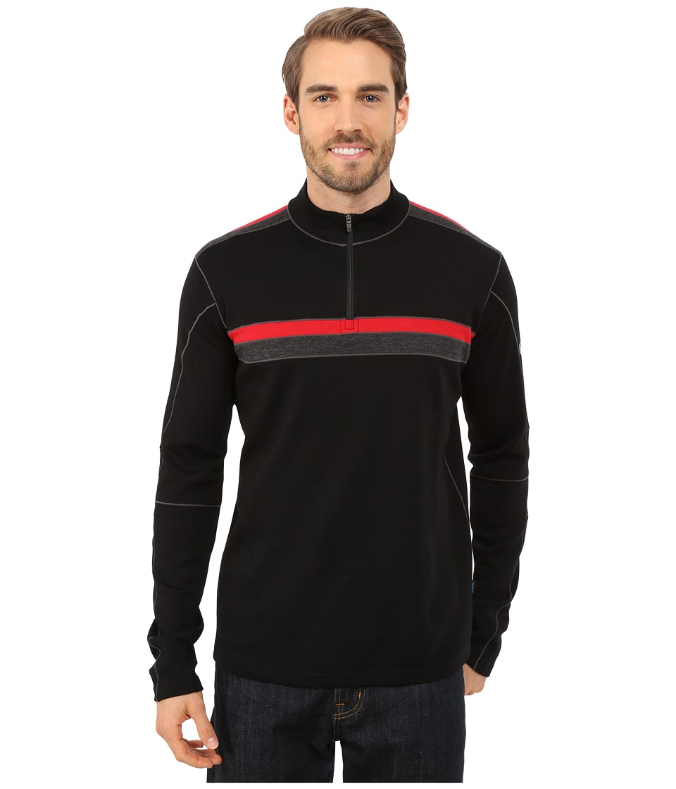 Kuhl Downhill Racr 1/4 Zip Black/Race Red Mens Long Sleeve Pullover