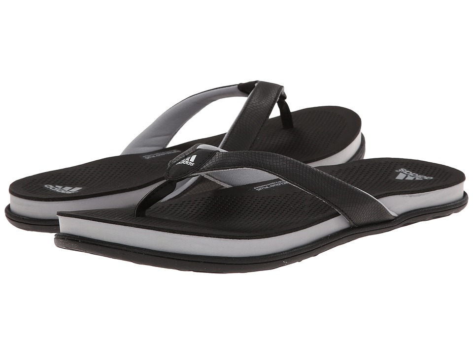 adidas - Supercloud Plus Thong (Black/Grey/Silver Metallic) Women's Sandals