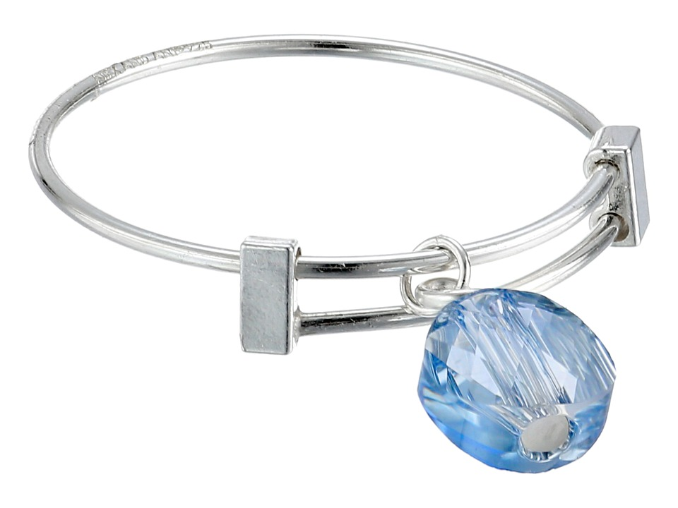 Alex and Ani Blue Shade Swarovski Crystal Expandable Ring Silver Ring