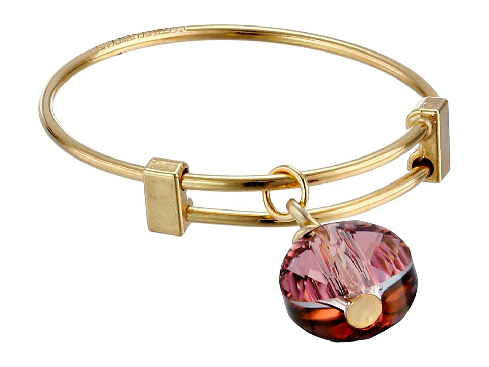 Alex and Ani Antique Pink Swarovski Crystal Expandable Ring Gold Ring