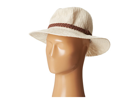 San Diego Hat Company KNH8008 Machine Knit Fedora w/ Braided Suede Trim - Ivory