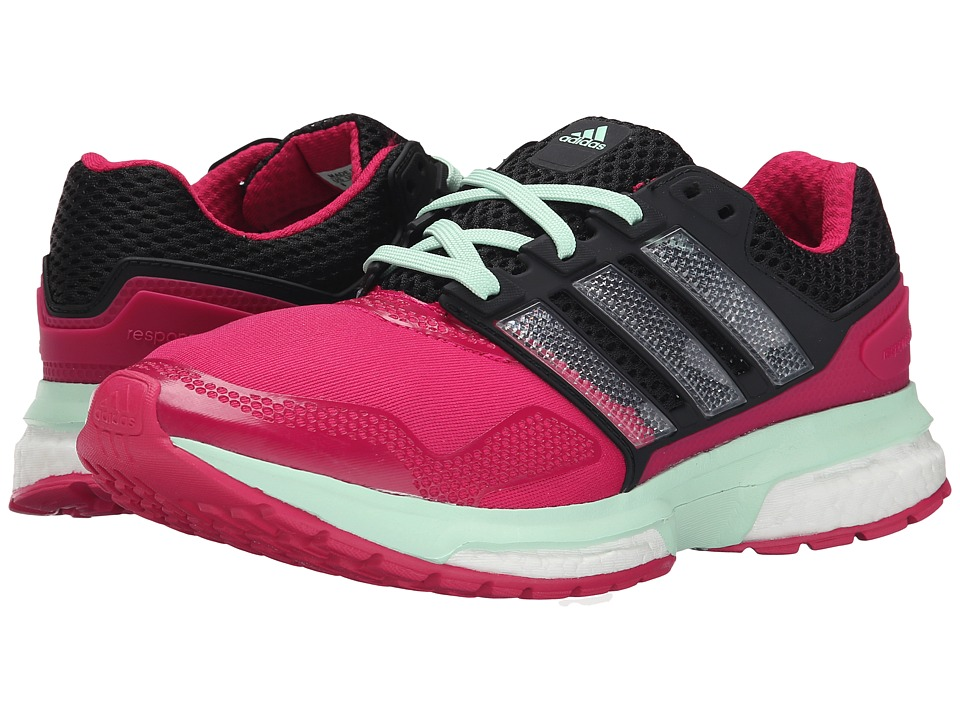 adidas Running Response Boost 2 Techfit Bold Pink/Black/Frozen Green Womens Running Shoes