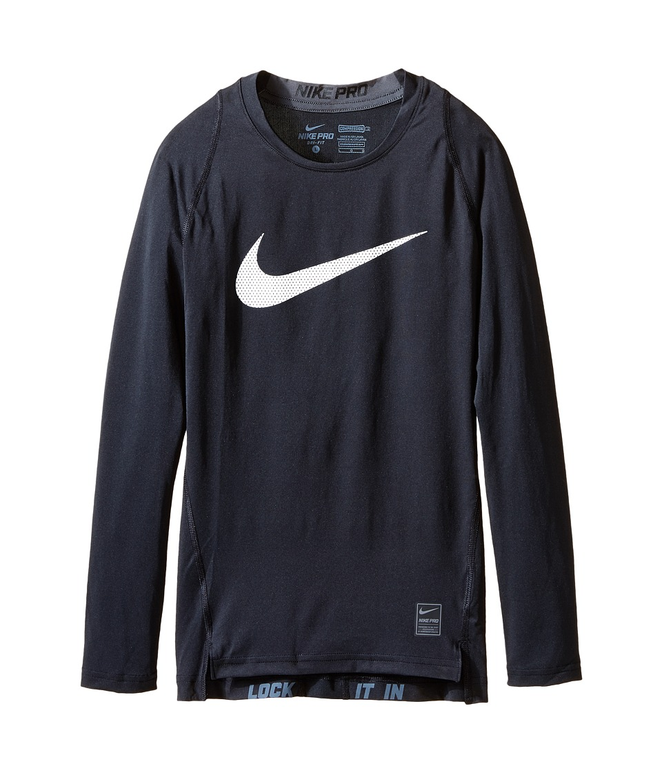 Nike Kids Cool HBR Comp Long Sleeve Little Kids/Big Kids Black/Anthracite/White Boys Workout